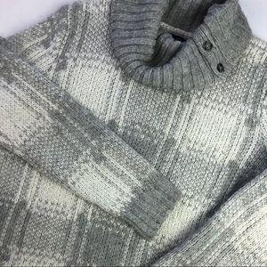 Tommy Hilfiger plaid gray wool blend sweater Sz L